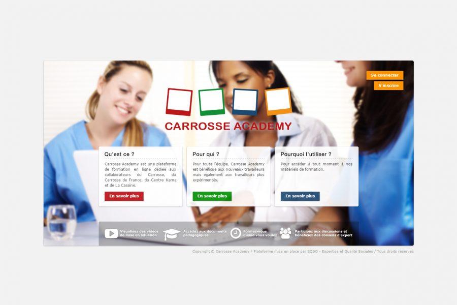 Page d'accueil de Carrosse Academy